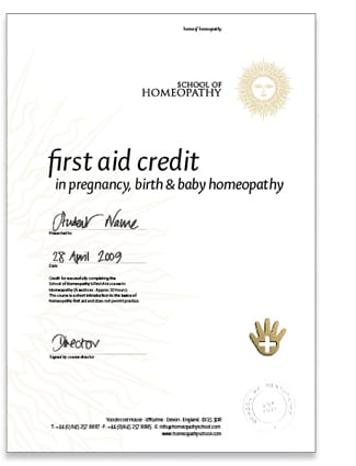 Homeopathy First Aid Certificate for Baby
