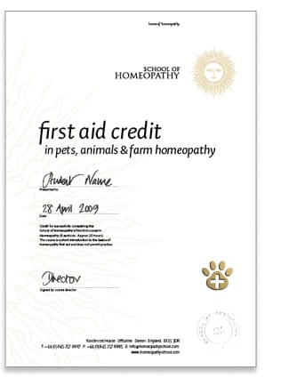 Homeopathy First Aid Certificate Pets