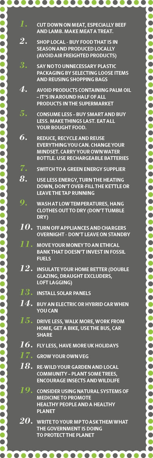 Top 20 things you can do to help with climate change