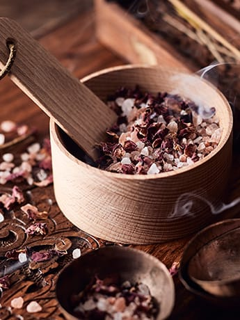 Ayurveda Bath salts in wooden bowl LR