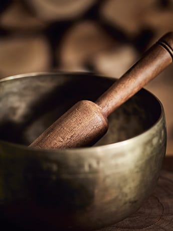 Brass mortar with wooden pestle